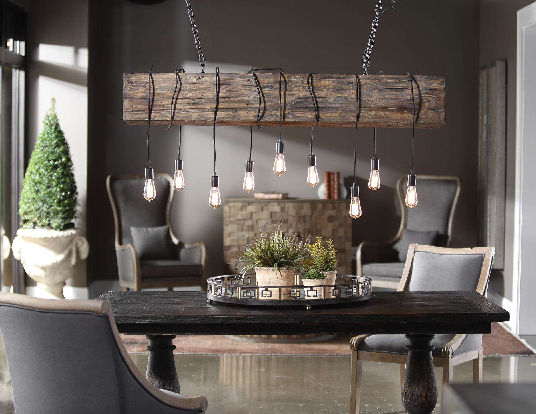 Roughed And Distressed, The Railroad Pendant Emulates A Little History In  The Otherwise Modern Design Style. Espresso Stained Worn Wood, Heavy Chains  And ...