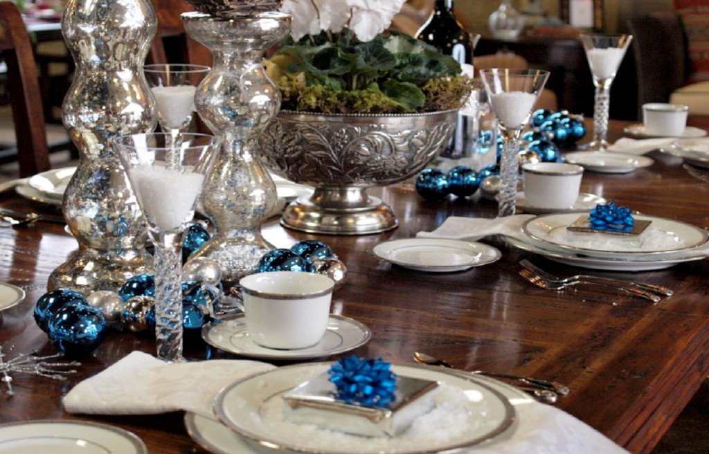 Blue and Silver Holiday Tablescape